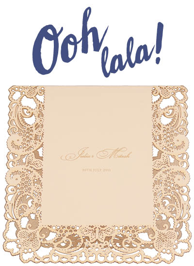 View laser cut wedding invitations, bespoke wedding stationery and information for Chartula Lace Orné Vintage Peach.