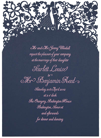 View laser cut wedding invitations like Chartula A Little Romance Navy.