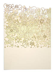 View Fairytale wedding invitations and more laser cut wedding stationery in Chartula Fairytale Natural and Pistachio.