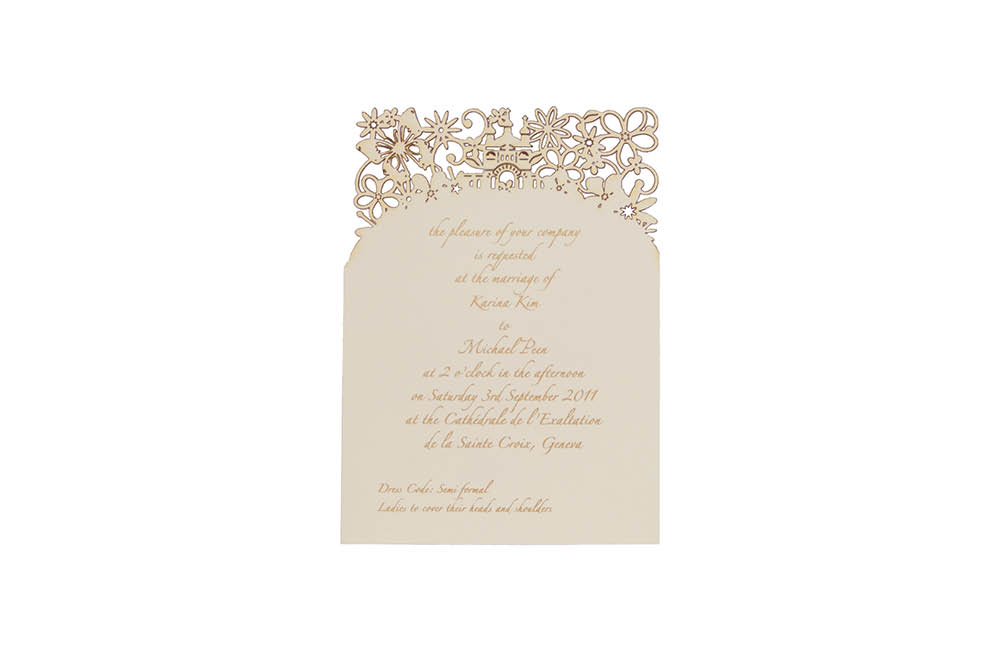 Chartula | Fairytale Bespoke Laser Cut Ceremony Invitation | Natural #LuxuryWedding #BespokeInvitations #LaserCutInvitations #FairytaleWedding #PrincessBride | www.chartula.co.uk