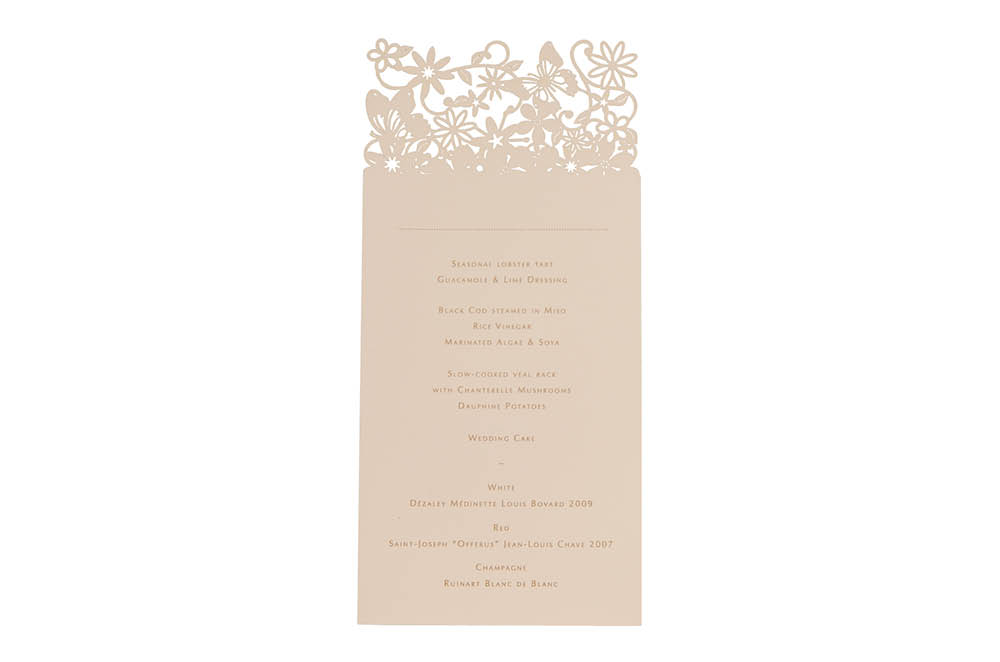 Chartula | Fairytale Bespoke Laser Cut Menu Place Card | Natural #LuxuryWedding #LaserCutMenu #FairytaleWedding #PrincessBride | www.chartula.co.uk