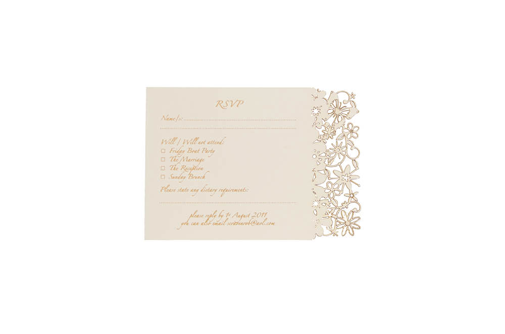 Chartula | Fairytale Bespoke Laser Cut Reply Card | Natural #LuxuryWedding #BespokeStationery #FairytaleWedding #PrincessBride | www.chartula.co.uk