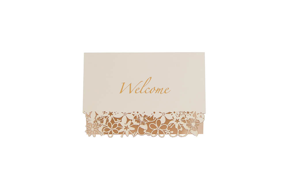Chartula | Fairytale Bespoke Laser Cut Welcome Card | Natural #LuxuryWedding #FairytaleWedding #PrincessBride | www.chartula.co.uk