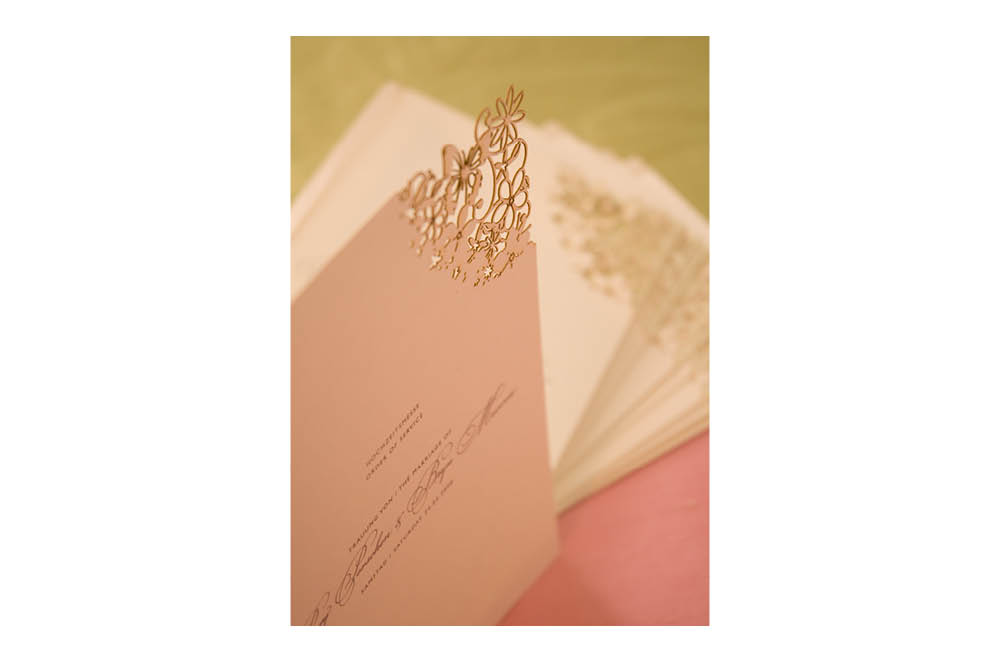 Chartula | Fairytale Bespoke Laser Cut Order of Service | Natural & Pistachio #LuxuryWedding #LaserCutStationery #FairytaleWedding | www.chartula.co.uk