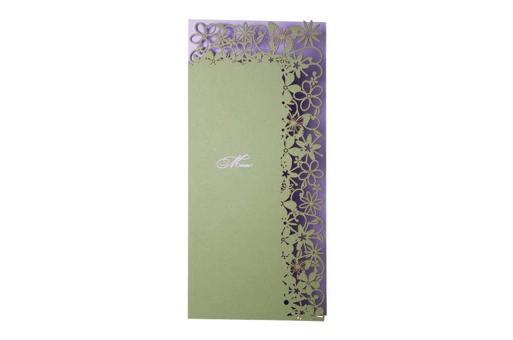 Chartula | Fairytale Bespoke Laser Cut Invitation | Lavender & Sage #LuxuryWedding #LaserCutMenu #FairytaleWedding | www.chartula.co.uk