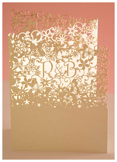 View laser cut wedding invitations, stationery and information for Chartula Fairytale Natural and Pistachio.