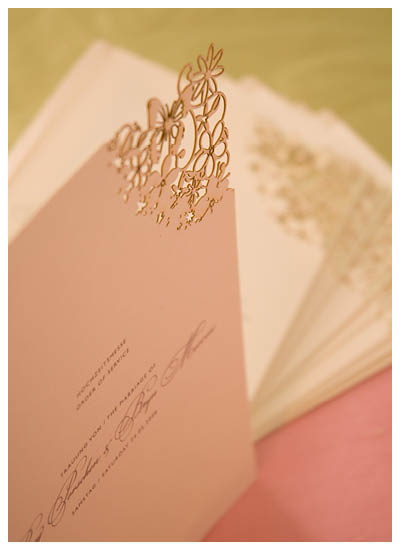 View laser cut order of service, stationery and information for Chartula Fairytale Natural and Pistachio.