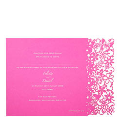 View Fairytale wedding invitations and more laser cut wedding stationery in Chartula Petite Fairytale Fuchsia Pink.