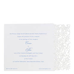 View Fairytale wedding invitations and more laser cut wedding stationery in Chartula Petite Fairytale White Blue.