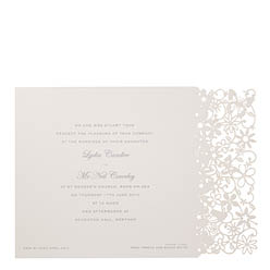 View Fairytale wedding invitations and information for Chartula Petite Fairytale White Silver.