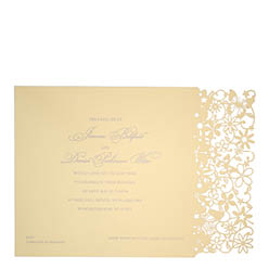 View Fairytale wedding invitations and more laser cut wedding stationery in Chartula Petite Fairytale Sorbet Yellow.