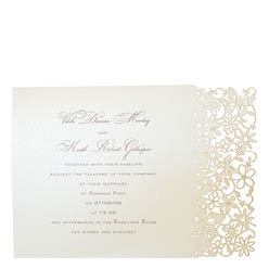 View Fairytale wedding invitations and more laser cut wedding stationery in Chartula Petite Fairytale Candlelight Cream.