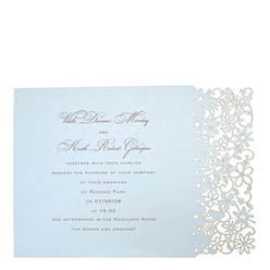View Fairytale wedding invitations and more laser cut wedding stationery in Chartula Petite Fairytale Damask Blue.
