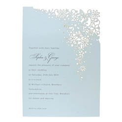 View Fairytale wedding invitations and information for Chartula Petit Bouquet Fairytale Damask Blue.