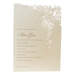 View Fairytale wedding invitations and information for Chartula Petit Bouquet Fairytale Candlelight Cream.