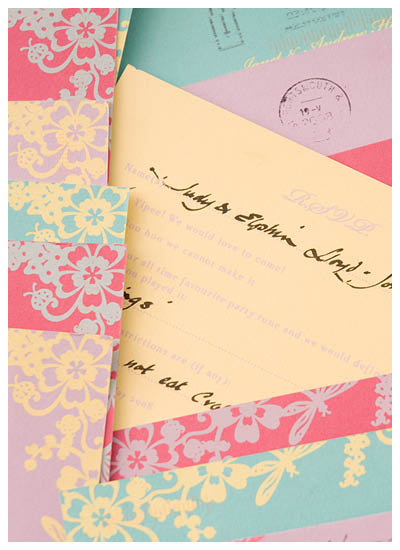 View bespoke wedding invitations and laser cut stationery for Chartula Beau Jardin reply postcards.