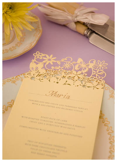 View wedding invitation packages information for this laser cut menu Chartula Petite Fairytale Sorbet Yellow.