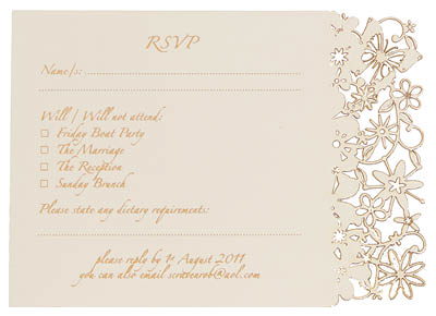 Fairytale Reply Card With 'Reply Card - Organised' wording