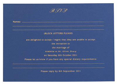 Bespoke reply cards. View matching laser cut Florence stationery and information for Chartula Antiquity Cornflower Sapphire.