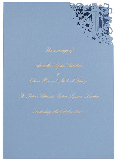 Bespoke laser cut order of service. View matching Florence stationery and information for Chartula Antiquity Cornflower Sapphire.