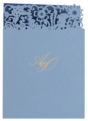 Bespoke laser cut thank you cards. View matching Florence stationery and information for Chartula Antiquity Cornflower Sapphire.