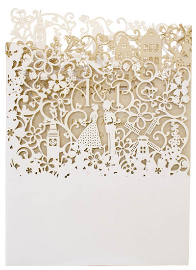 Bespoke laser cut wedding invitations. View couture Dutch London stationery and information for Chartula Little City Tales.