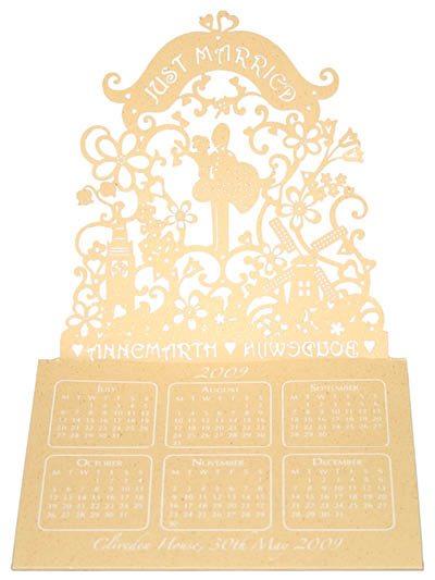 Bespoke laser cut calendars. View Dutch London wedding stationery and information for Chartula Little City Tales.