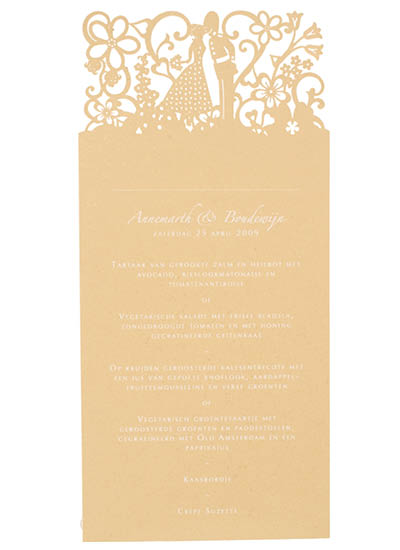 Bespoke laser cut menus. View Dutch London wedding stationery and information for Chartula Little City Tales.