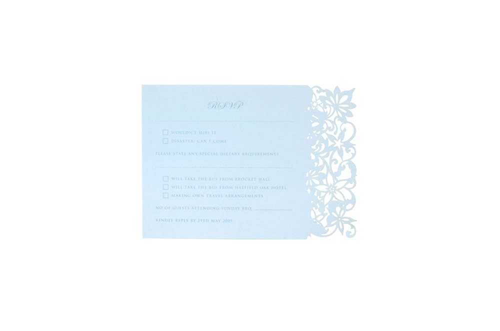 Chartula | Haute Fleurie Bespoke Laser Cut Reply Card | Duck Egg #LuxuryWedding #LaserCutStationery | www.chartula.co.uk