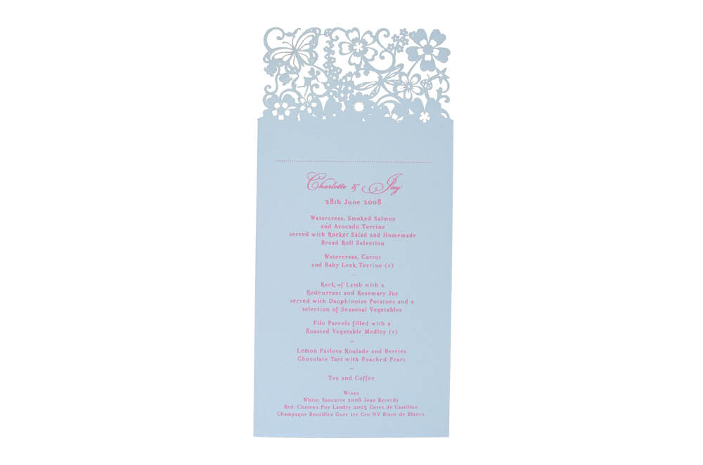 Chartula | Beau Jardin Bespoke Laser Cut Menu Place Card | Bluebell Cream #FairytaleWedding #WhimsicalWedding #LaserCutMenu | www.chartula.co.uk