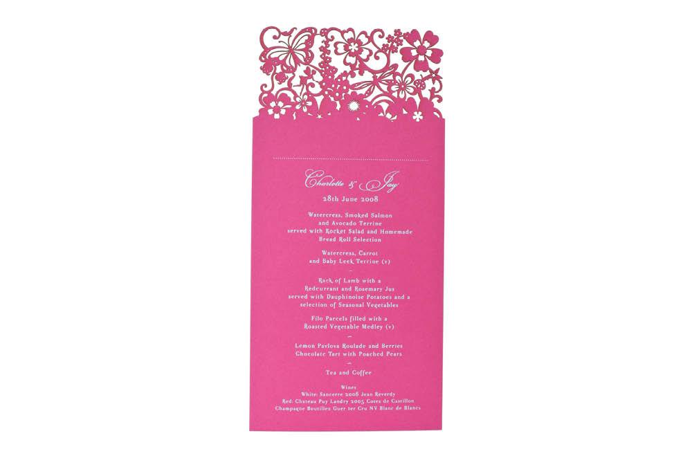 Chartula | Beau Jardin Bespoke Laser Cut Menu Place Card | Fuchsia Pink #FairytaleWedding #WhimsicalWedding #LaserCutMenu | www.chartula.co.uk