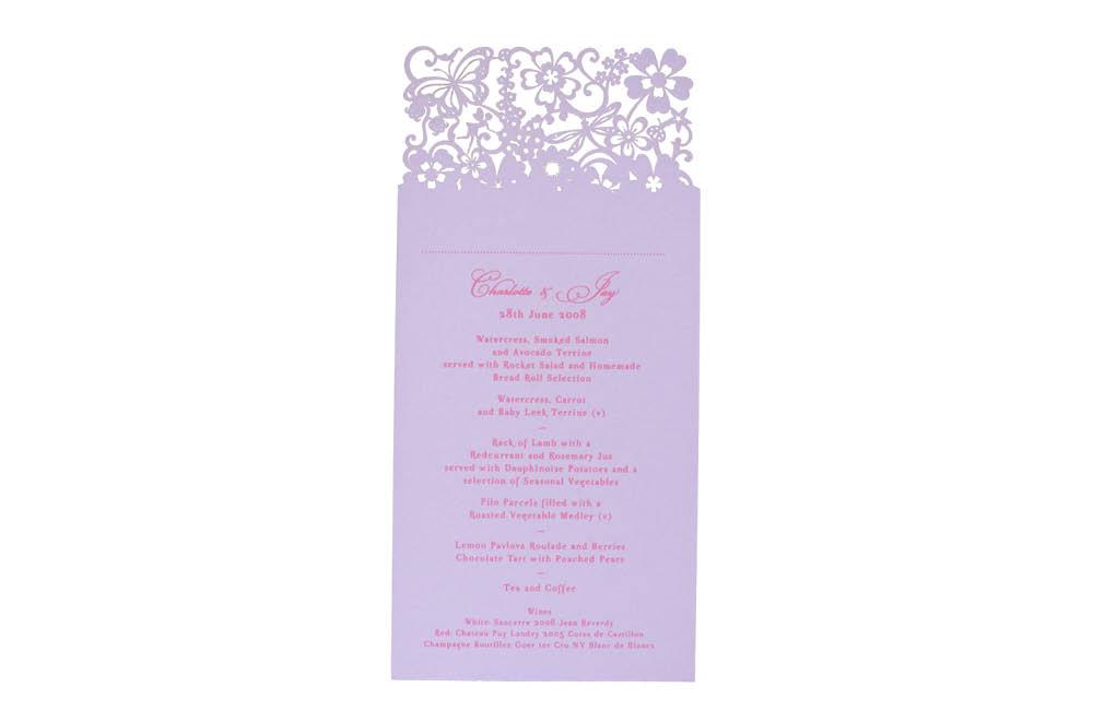 Chartula | Beau Jardin Bespoke Laser Cut Menu Place Card | Lavender #FairytaleWedding #WhimsicalWedding #LaserCutMenu | www.chartula.co.uk