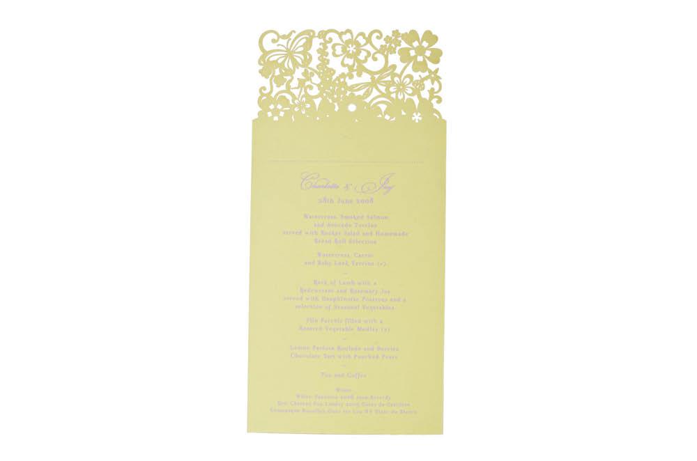 Chartula | Beau Jardin Bespoke Laser Cut Menu Place Card | Sorbet Yellow #FairytaleWedding #WhimsicalWedding #LaserCutMenu | www.chartula.co.uk