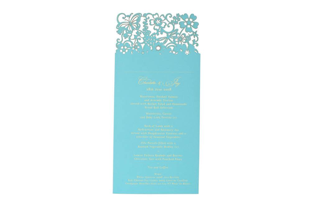 Chartula | Beau Jardin Bespoke Laser Cut Menu Place Card | Turquoise #FairytaleWedding #WhimsicalWedding #LaserCutMenu | www.chartula.co.uk
