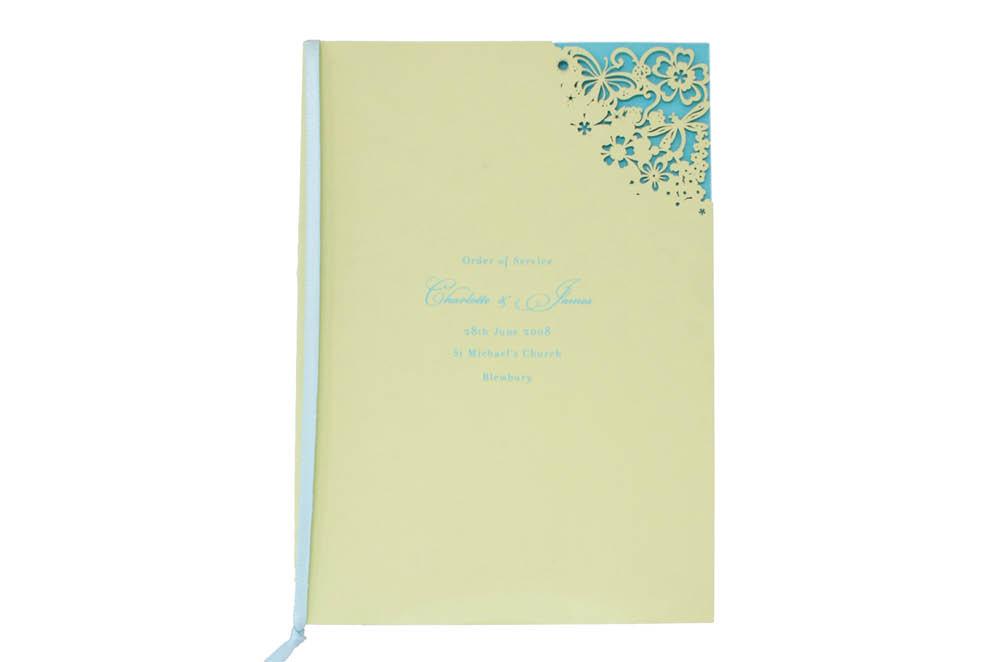 Chartula | Beau Jardin Bespoke Laser Cut Order of Service | Sorbet Yellow & Turquoise #FairytaleWedding #WhimsicalWedding #LaserCutStationery | www.chartula.co.uk