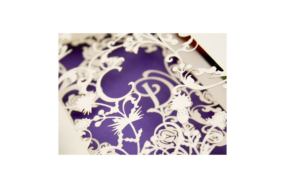 Chartula | Thistle & Rose Bespoke Laser Cut Invitation | Natural & Purple #LuxuryWedding #LaserCutInvitation #ScottishEnglishWedding | www.chartula.co.uk