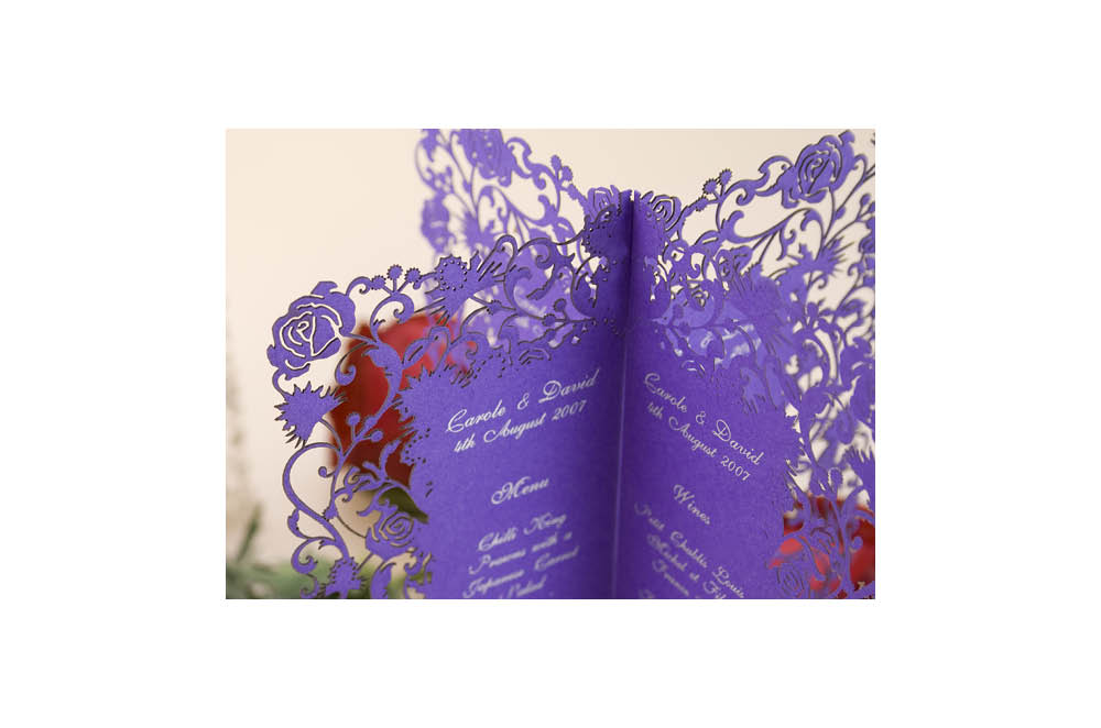 Chartula | Thistle & Rose Bespoke Laser Cut Menu | Purple #LuxuryWedding #LaserCutMenu #ScottishEnglishWedding | www.chartula.co.uk