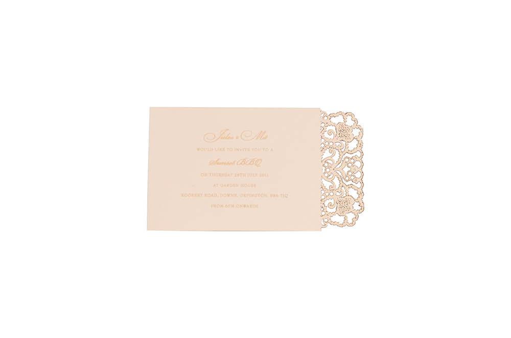 Chartula | Lace Orné Bespoke Laser Cut Invitation | Vintage Peach #LaceInvitation #BohoWedding #VintageWedding #LaserCutInvitation | www.chartula.co.uk