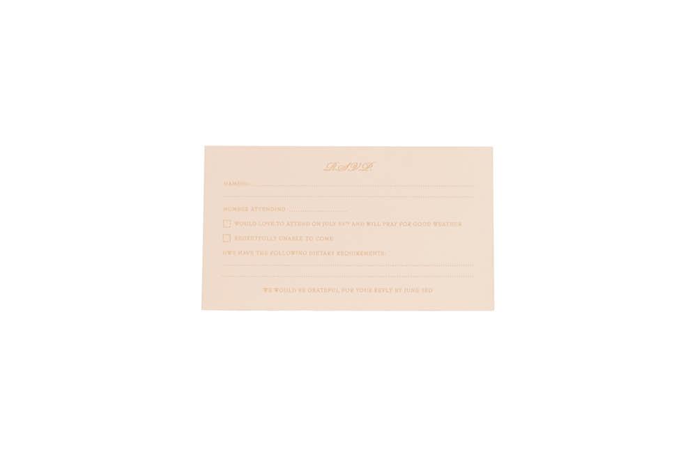 Chartula | Lace Orné Bespoke Reply Card | Vintage Peach #BespokeStationery | www.chartula.co.uk