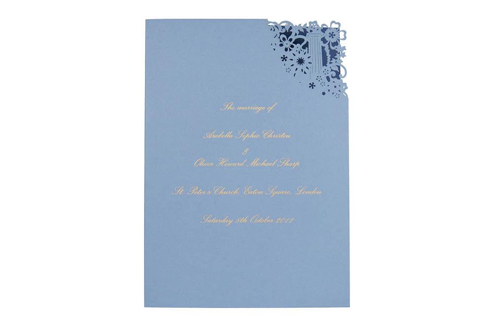 Chartula | Antiquity Bespoke Laser Cut Order of Service | Cornflower Blue & Sapphire Blue #LaserCutStationery #LuxuryWedding #FlorenceWedding | www.chartula.co.uk