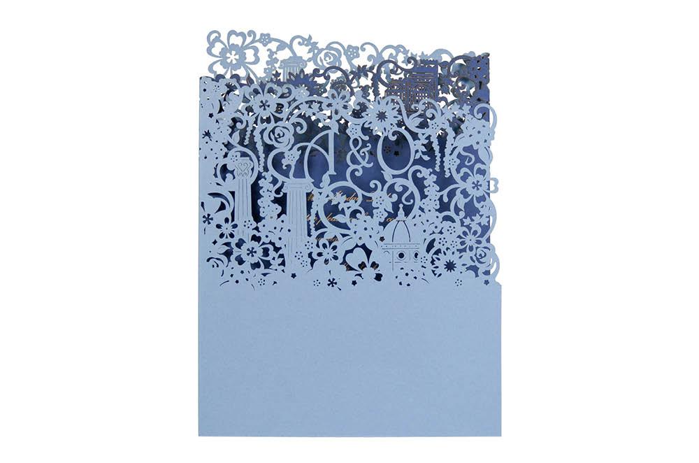 Chartula | Antiquity Bespoke Laser Cut Invitation | Cornflower Blue & Sapphire Blue #LuxuryWedding #BespokeInvitations #LaserCutInvitation #FlorenceWedding | www.chartula.co.uk