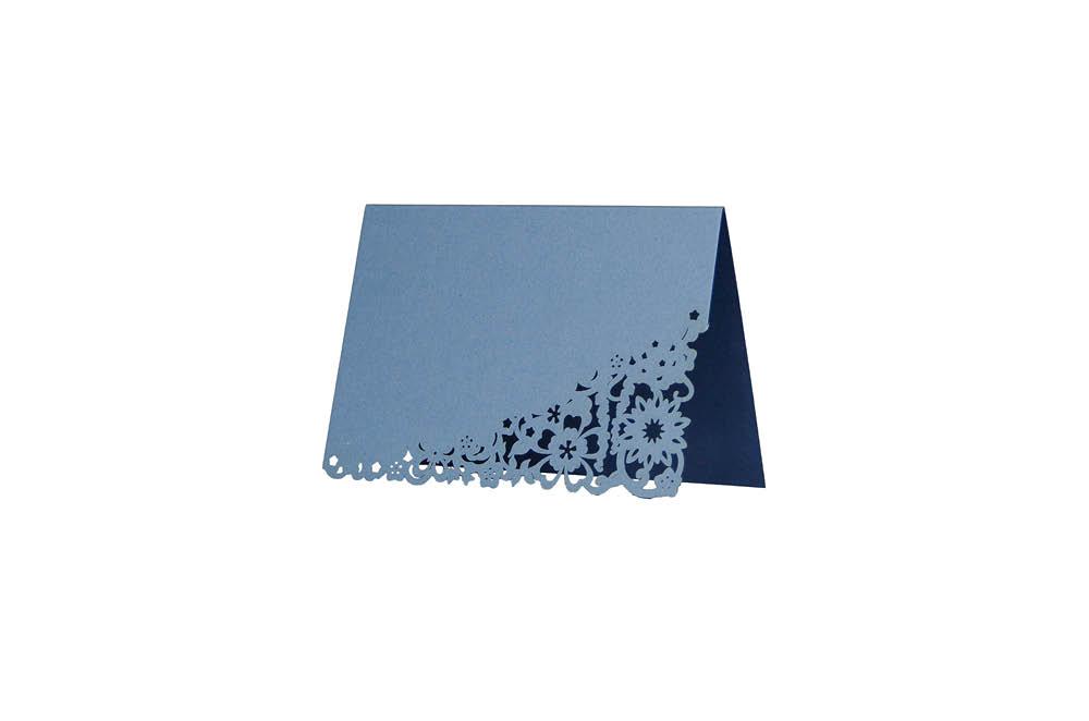 Chartula | Antiquity Bespoke Laser Cut Place Card | Cornflower Blue & Sapphire Blue #LaserCutStationery #LuxuryWedding #FlorenceWedding | www.chartula.co.uk
