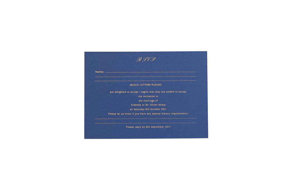 Chartula | Antiquity Bespoke Reply Card | Cornflower Blue & Sapphire Blue #BespokeStationery #FlorenceWedding | www.chartula.co.uk