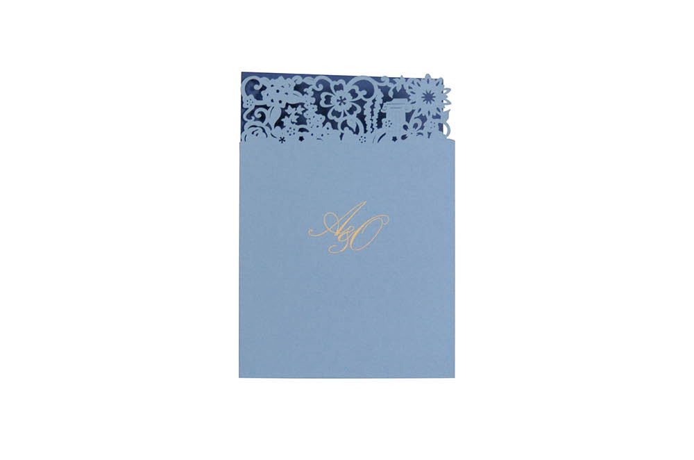 Chartula | Antiquity Bespoke Laser Cut Thank You Card | Cornflower Blue & Sapphire Blue #LaserCutStationery #LuxuryWedding #FlorenceWedding | www.chartula.co.uk