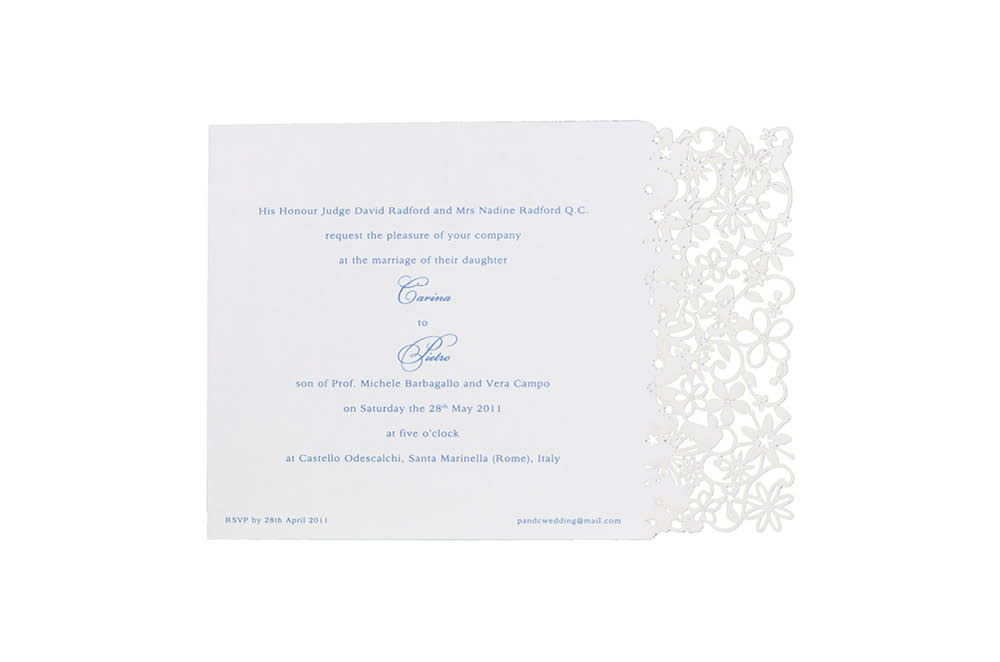 Chartula | Petite Fairytale Laser Cut Invitation | Pristine White #FairytaleWedding #LaserCutInvitations #LuxuryInvitations | www.chartula.co.uk