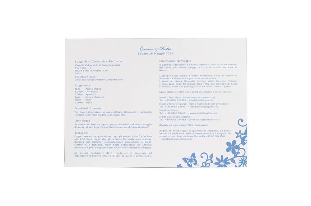Chartula | Petite Fairytale Information Card | Pristine White #FairytaleWedding #LuxuryStationery | www.chartula.co.uk