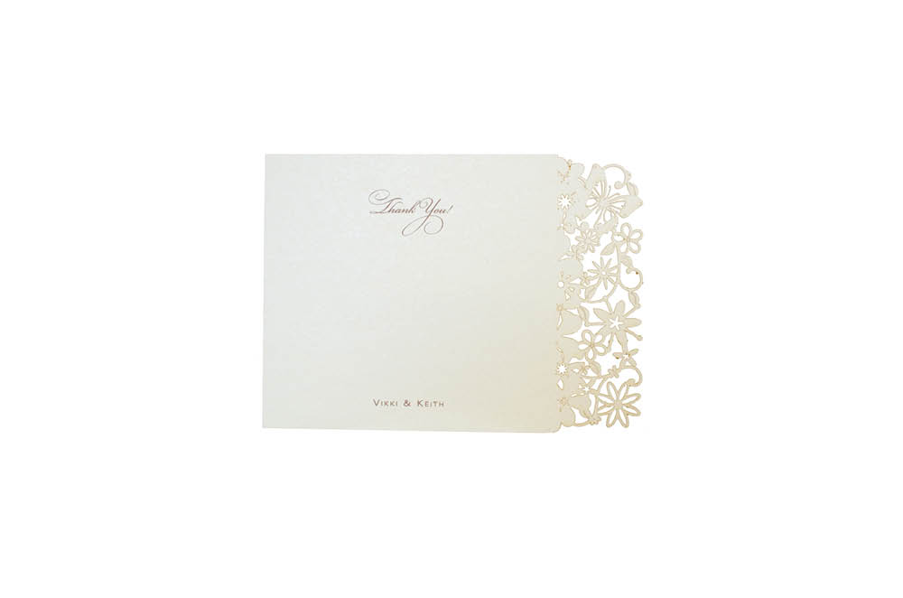 Chartula | Petite Fairytale Laser Cut Thank You Card | Candlelight Cream #FairytaleWedding #LaserCutStationery #BohoWedding | www.chartula.co.uk