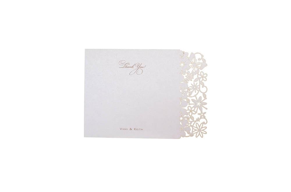 Chartula | Petite Fairytale Laser Cut Thank You Card | Lavendula #FairytaleWedding #LaserCutStationery #LavenderWedding | www.chartula.co.uk