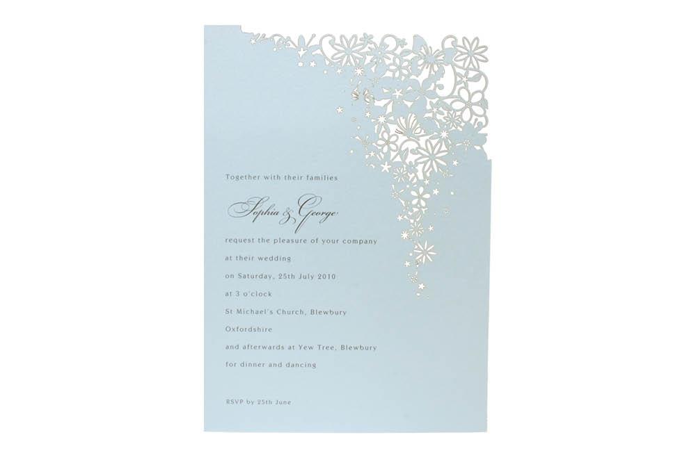 Chartula | Petit Bouquet Fairytale Laser Cut Invitation | Damask Blue #FairytaleWedding #LaserCutInvitations #DuckEggInvitations | www.chartula.co.uk