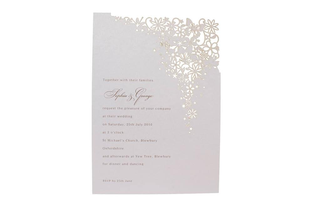 Chartula | Petit Bouquet Fairytale Laser Cut Invitation | Lavendula #FairytaleWedding #LaserCutInvitations #LavenderWedding | www.chartula.co.uk